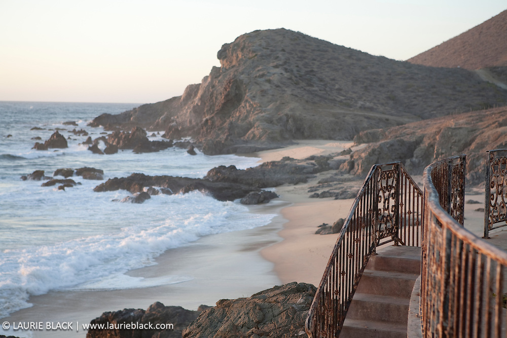 Beach and rustic railing