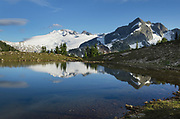 Mount Challenger and Whatcom Peak seen from Tapto Lake, North Cascades National Park