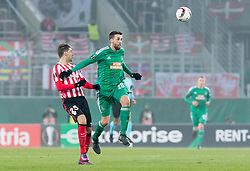 08.12.2016, Weststadion, Wien, AUT, UEFA EL, SK Rapid Wien vs Athletic Club Bilbao, Gruppe F, im Bild Enric Saborit (Athletic Club Bilbao), Tomi Correa (SK Rapid Wien) // during a UEFA Europa League, group F game between SK Rapid Wien and Athletic Club Bilbao at the Weststadion, Vienna, Austria on 2016/12/08. EXPA Pictures © 2016, PhotoCredit: EXPA/ Sebastian Pucher