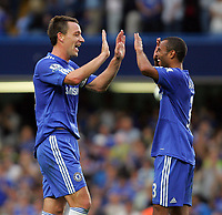 Chelsea FC vs Tottenham Hotspur FC Premiership 20/09/09<br /> Photo Nicky Hayes Fotosports International<br /> John Terry and Ashley Cole celebrate victory.