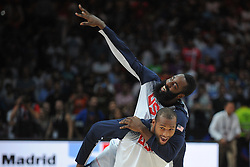 James Harden of USA celebrate after winning during the 2014 FIBA World Basketball Championship Final match between USA and Serbia at the Palacio de los Deportes, on September 14, 2014 in Madrid, Spain. Photo by Tom Luksys  / Sportida.com <br /> ONLY FOR Slovenia, France