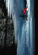 "Mark Twight climbing the frozen waterfall ""Stone Free"" in Rifle Colorado, USA."