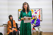 VANESSA VIE; ISABEL DEL RIO; MICHAEL HOROVITZ, Michael Horovitz and Vanessa Vie with guests Carlos Puente and Isabel del Rio, Stretches of Spain event, Art Project Space, Bermondsey St. London. 31 March 2016