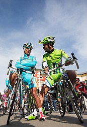 16.04.2013, Hauptplatz, Lienz, AUT, Giro del Trentino, Etappe 1, Lienz nach Lienz, im Bild Paolo Tiralongo (Astana Pro Team), Ivan Basso (Cannondale Pro Cycling) // during stage 1, Lienz to Lienz of the Giro del Trentino at the Hauptplatz, Lienz, Austria on 2013/04/16. EXPA Pictures © 2013, PhotoCredit: EXPA/ Johann Groder