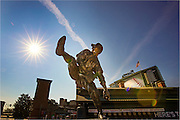 ATLANTA, GA - SEPTEMBER 9, 2016: The statue of Hall of Famer Warren Spahn, stands inside Turner Field on September 9, 2016 in Atlanta, Georgia. (Photo by Jean Fruth)