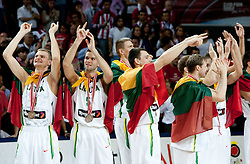 Renaldas Seibutis of Lithuania, Mantas Kalnietis of Lithuania and other Players of Lithuania celebrate after winning third place at 2010 FIBA World Championships on September 12, 2010 at the Sinan Erdem Dome in Istanbul, Turkey.  (Photo By Vid Ponikvar / Sportida.com)