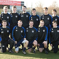 St Johnstone U17's who won the SFL U17 Championship, pictured back row from left, Tommy Campbell, Youth Development Manager, Johnny Lindsay, Zander Clark, Mark Durnan, Chris Dodd, Stephen Reynolds, Shaun McCallion, Paul Sherin U17 Coach.<br /> Front row from left, Stevie May, Jordan Quinn, Martyn Shields, Ryan Sullivan and Gordon Norrie.<br /> Picture by Graeme Hart.<br /> Copyright Perthshire Picture Agency<br /> Tel: 01738 623350  Mobile: 07990 594431