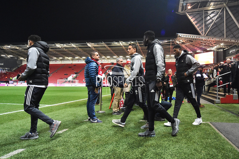 Jesse Lingard (14) of Manchester United, Ander Herrera (21) of Manchester United, Matteo Darmian (36) of Manchester United and Marcus Rashford (19) of Manchester United come out to look at the pitch on arrival before the EFL Cup match between Bristol City and Manchester United at Ashton Gate, Bristol, England on 20 December 2017. Photo by Graham Hunt.