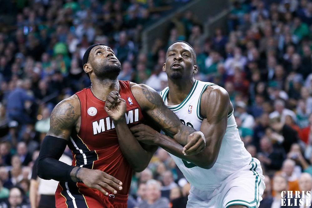 18 March 2013: Miami Heat small forward LeBron James (6) vies for the rebound with Boston Celtics power forward Jeff Green (8) during the Miami Heat 105-103 victory over the Boston Celtics at the TD Garden, Boston, Massachusetts, USA.