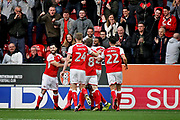 Rotherham players celebrate their goal to make it 1-0 during the EFL Sky Bet League 1 play off second leg match between Rotherham United and Scunthorpe United at the AESSEAL New York Stadium, Rotherham, England on 16 May 2018. Picture by Nigel Cole.