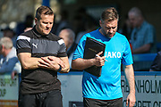 Forest Green Rovers manager, Mark Cooper and Forest Green Rovers assistant manager, Scott Lindsey during the Vanarama National League match between Guiseley  and Forest Green Rovers at Nethermoor Park, Guiseley, United Kingdom on 8 April 2017. Photo by Shane Healey.