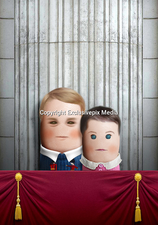 """These royal portraits created by the finger artist DITO VON TEASE<br />known as """"il Dito"""", thatÕs Italian for Òthe FingerÓ. a funny invitation to people to be curious about the complex mystery of personal identities ...  <br /><br />Photo shows: Royal babies, George and Charlotte<br />©Exclusivepix Media"""