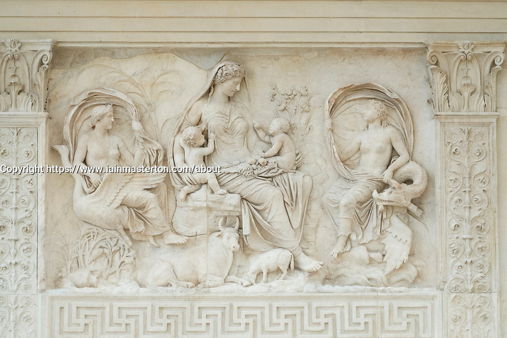 Detail of Tellus panel at Museum of the Ara Pacis (Museo dell'Ara Pacis) housing Ara Pacis monument  in Rome, Italy