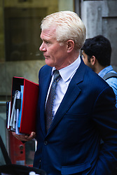 Company Director Duncan Ferguson leaves an employment Tribunal where he is contesting his dismissal from an asset management firm that looked after the £5.5bn London portfolio of the Abu Dhabi royal family, claiming that he was dismissed for going part time to look after his terminally ill wife. London, October 11 2018.