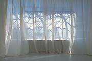 The play of shadows and light on a transparent curtain