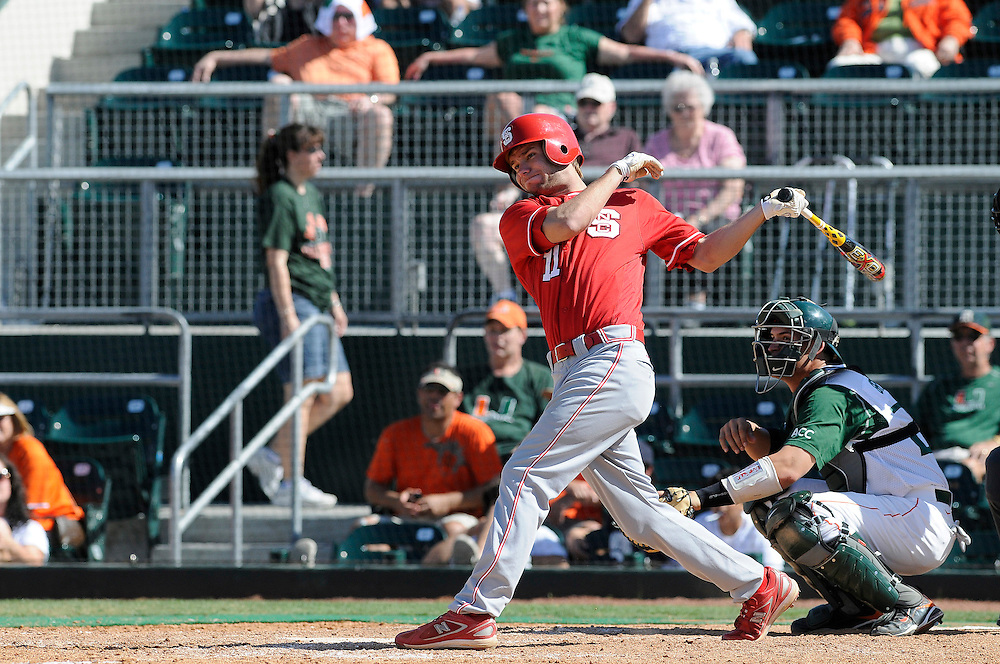March 8, 2009: Drew Poulk of the North Carolina State Wolfpack in action during the NCAA baseball game between the Miami Hurricanes and the North Carolina State Wolfpack. The 'Canes defeated the Wolfpack 9-7.