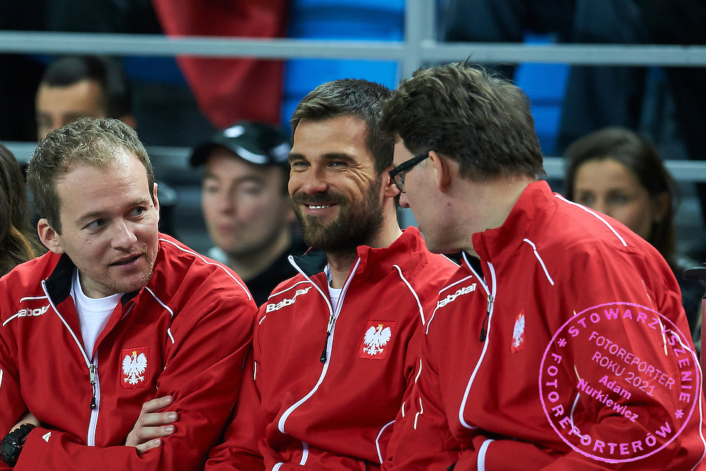 (C) pshychologist Pawel Habrat and (R) doctor Hubert Krzysztofiak both from Poland during third day the Davies Cup / Group I Europe / Africa 1st round tennis match between Poland and Lithuania at Orlen Arena on March 8, 2015 in Plock, Poland<br /> Poland, Plock, March 8, 2015<br /> <br /> Picture also available in RAW (NEF) or TIFF format on special request.<br /> <br /> For editorial use only. Any commercial or promotional use requires permission.<br /> <br /> Mandatory credit:<br /> Photo by &copy; Adam Nurkiewicz / Mediasport