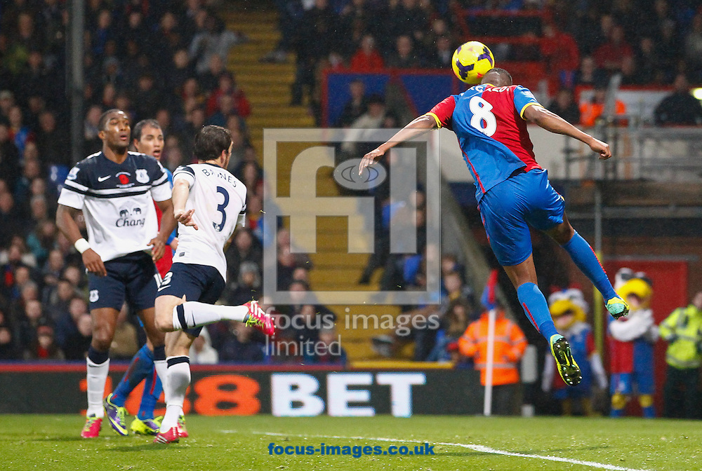 Picture by David Horn/Focus Images Ltd +44 7545 970036<br /> 09/11/2013<br /> Kagisho Dikgacoi of Crystal Palace (left) mis-directs a clear header on goal during the Barclays Premier League match at Selhurst Park, London.