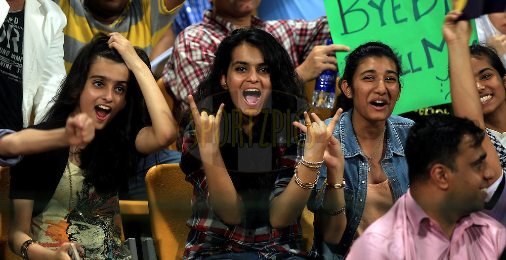 Fan's Enjoys during match 19 of the Pepsi Indian Premier League 2014 Season between The Kolkata Knight Riders and the Rajasthan Royals held at the Sheikh Zayed Stadium, Abu Dhabi, United Arab Emirates on the 29th April 2014<br /> <br /> Photo by Sandeep Shetty / IPL / SPORTZPICS