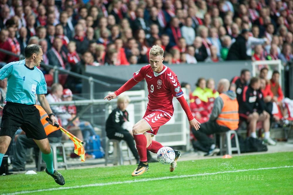 01.09.2017. Copenhagen, Denmark. <br /> Nicolai Jorgensen (9) of Denmark during the FIFA 2018 World Cup Qualifier between Denmark and Poland at Parken Stadion.<br /> Photo: © Ricardo Ramirez.