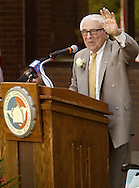 Ben Gilman waves to someone in the audience during the groundbreaking ceremony for SUNY Orange's planned Gilman Center for International Education on the college's Middletown campus on Aug. 2, 2007.