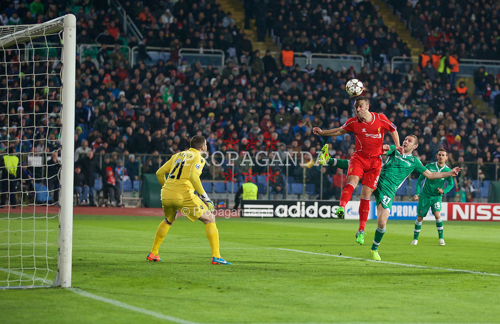 SOFIA, BULGARIA - Wednesday, November 26, 2014: Liverpool's Rickie Lambert scores the first goal against PFC Ludogorets Razgrad during the UEFA Champions League Group B match at the Vasil Levski National Stadium (Pic by David Rawcliffe/Propaganda)
