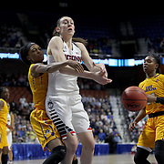 Breanna Stewart, UConn, challenges for a rebound with Jada Payne, East Carolina, during the UConn Huskies Vs East Carolina Pirates Quarter Final match at the  2016 American Athletic Conference Championships. Mohegan Sun Arena, Uncasville, Connecticut, USA. 5th March 2016. Photo Tim Clayton