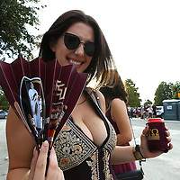 A Florida State fan poses in the fan zone prior to an NCAA football game between the Ole Miss Rebels and the Florida State Seminoles at Camping World Stadium on September 5, 2016 in Orlando, Florida. (Alex Menendez via AP)