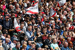 Saracens fans celebrate - Photo mandatory by-line: Rogan Thomson/JMP - 07966 386802 - 30/05/2015 - SPORT - RUGBY UNION - London, England - Twickenham Stadium - Bath Rugby v Saracens - 2015 Aviva Premiership Final.