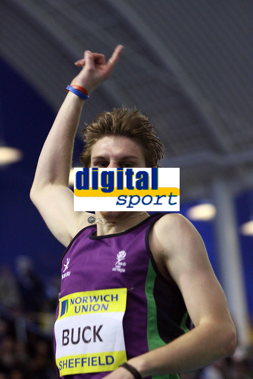 Photo: Rich Eaton.<br /> <br /> Norwich Union European Indoor Trials and UK Championships, Sheffield. 11/02/2007.  Richard Buck of Rown celebrates winning the 400 metres