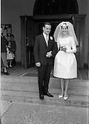28/07/1962<br /> 07/28/1962<br /> 28 July 1962 <br /> Wedding of Mr Desmond F. English, Landscape Cresent, Churchtown and Miss Blanche O'Brien Oakley Park, Blackrock at St John the Baptist Church, Blackrock and Ross's Hotel Dun Laoghaire, Dublin. Image shows the bride and groom outside the church after the ceremony.