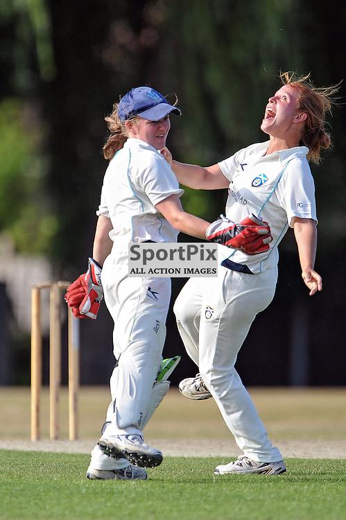 Scotlands Lorna Jack and Elizibeth Priddle celebrate the final wicket and the win. Hampshire Women v Scotland Women - ECBCC3 - 15 July 2013 (c) Dave Vokes | SportPix.org.uk
