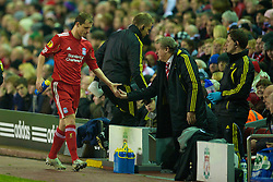 LIVERPOOL, ENGLAND - Wednesday, December 15, 2010: Liverpool's manager Roy Hodgson with Milan Jovanovic during the UEFA Europa League Group K match against FC Utrecht at Anfield. (Photo by: David Rawcliffe/Propaganda)