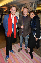 Left to right, ARCHIE MANNERS, JAKE WILLIS FLEMING and the DUCHESS OF RUTLAND at the Mila Furs Trunk Show held at the Haymarket Hotel, 1 Suffolk Place, London on 1st November 2016.