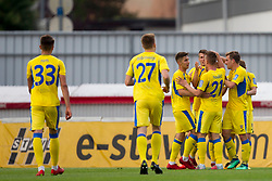 Players of NK Domzale celebrate goal during football match between NK Domzale and NK Ankaran Hrvatini in Round #30 of Prva liga Telekom Slovenije 2017/18, on May 2nd, 2018 in Sports Park Domzale, Domzale, Slovenia. Photo by Urban Urbanc / Sportida