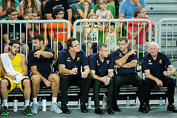Andrej Lemanis, head coach of Australia (3rd from Right) during friendly basketball match between National teams of Slovenia and Australia, on August 4, 2015 in Arena Stozice, Ljubljana, Slovenia. Photo by Vid Ponikvar / Sportida