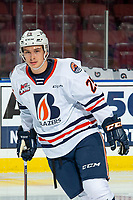 KELOWNA, BC - OCTOBER 12: Quinn Schmiemann #25 of the Kamloops Blazers warms up on the ice against the Kelowna Rockets at Prospera Place on October 12, 2019 in Kelowna, Canada. Schmiemann was selected by the Tampa Bay Lightning in the 2019 NHL entry draft. (Photo by Marissa Baecker/Shoot the Breeze)