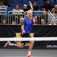 Tennis champion John McEnroe is seen as he plays during the PowerShares Tennis Series event at the Amway Center on January 5, 2017 in Orlando, Florida. (Alex Menendez via AP)