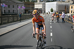Megan Guarnier (USA) of Boels-Dolmans Cycling Team rides back to the podium after winning Stage 3 of the Ladies Tour of Norway - a 156.6 km road race, between Svinesund (SE) and Halden on August 20, 2017, in Ostfold, Norway. (Photo by Balint Hamvas/Velofocus.com)
