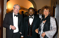 Left to right, LORD SMITH OF FINSBURY, BEN OKRI and ROSEMARY CLUNY at a dinner to announce the 2005 Man Booker Prize held at The Guilhall, City of London on 10th October 2005.<br />
