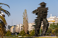 "Athens, Greece.The ""Running Man"", a sculpture made of glass."