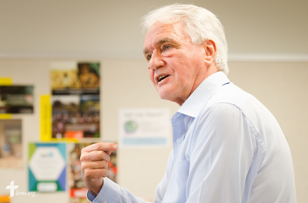Dr. John Kleinig, professor emeritus at the Australian Lutheran College, leads a workshop at the 2014 Institute on Liturgy, Preaching and Church Music on Tuesday, July 29, 2014, at Concordia University, Nebraska, in Seward, Neb. LCMS Communications/Erik M. Lunsford