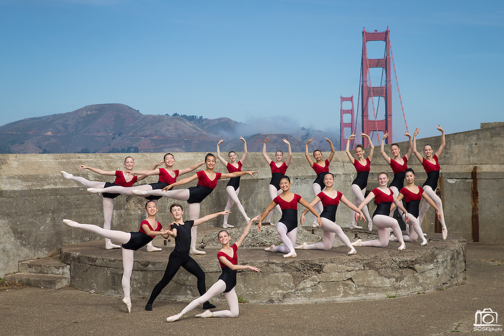 Dance Connection Palo Alto Ballet Company dancers pose for a portrait at Battery Godfrey in San Francisco, California, on September 17, 2016. (Stan Olszewski/SOSKIphoto)