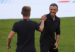 September 11, 2018 - Elche, U.S. - ELCHE, SPAIN - SEPTEMBER 11: Luis Enrique Martinez talking with Ivan Rakitic of Croatia before the start of the UEFA Nations League A Group four match between Spain and Croatia on September 11, 2018, at Estadio Manuel Martinez Valero in Elche, Spain. (Photo by Carlos Sanchez Martinez/Icon Sportswire) (Credit Image: © Carlos Sanchez Martinez/Icon SMI via ZUMA Press)