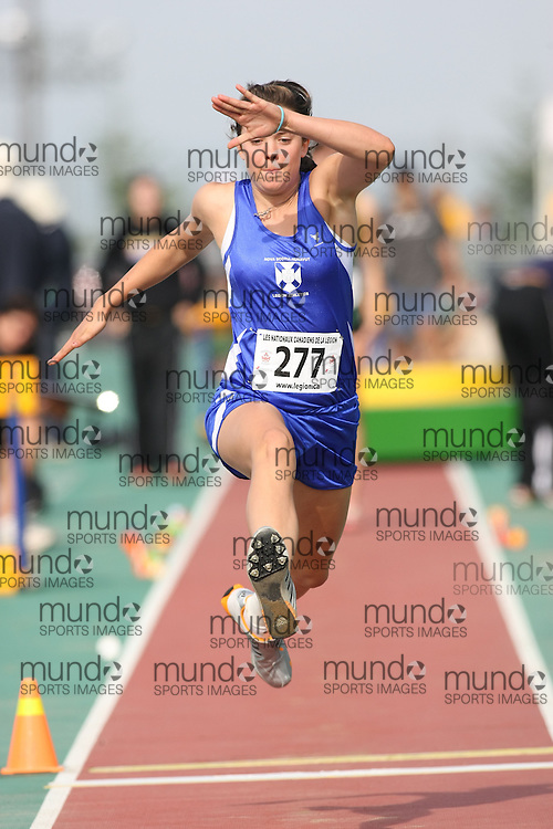 (Sherbrooke, Quebec---10 August 2008) Maia Jorgensen competing in the youth girls triple jump at the 2008 Canadian National Youth and Royal Canadian Legion Track and Field Championships in Sherbrooke, Quebec. The photograph is copyright Sean Burges/Mundo Sport Images, 2008. More information can be found at www.msievents.com.