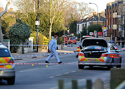 © Licensed to London News Pictures. 19/02/2012, London, UK. The scene at Stanstead Road today 19 February 2012. Police have shot a man in Forest Hill, London with firearms and a taser. A man is in a critical condition after being shot by police in south-east London. Police were called to reports of a man trying to break into a car in Elsinore Road, Forest Hill, in the early hours.. Photo credit : Stephen Simpson/LNP