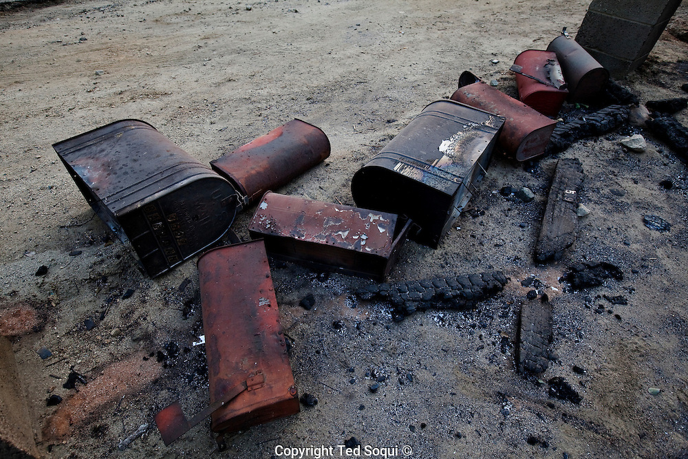 Fire damaged mail boxes in the Big Tujunga area of Los Angeles..