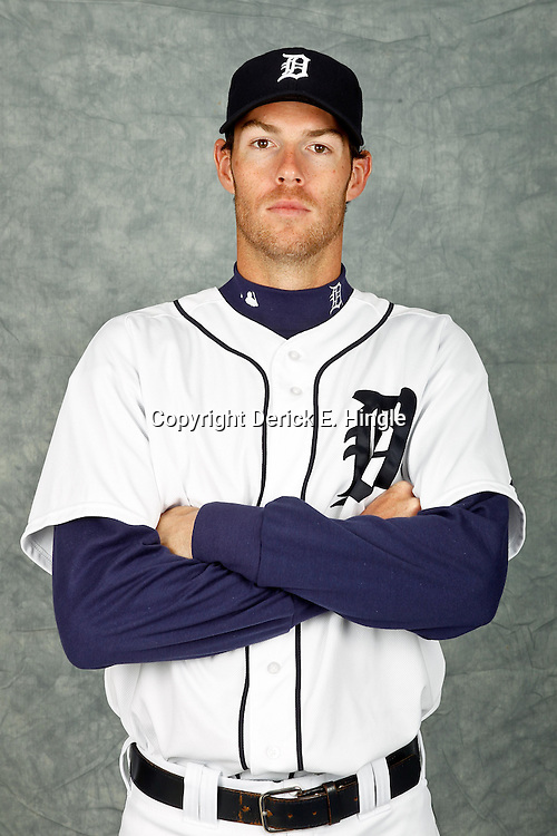 February 28, 2012; Lakeland, FL, USA; Detroit Tigers starting pitcher Doug Fister (58) poses for photo day in the rec room at the Detroit Tigers Headquarters.  Mandatory Credit: Derick E. Hingle-US PRESSWIRE