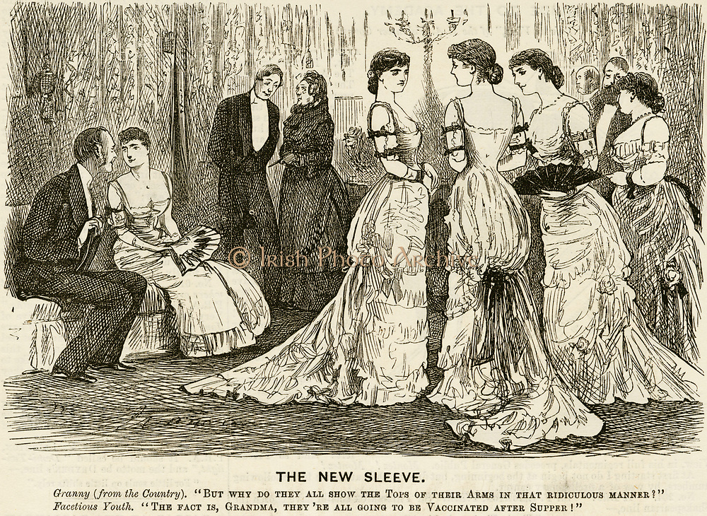 'Fashionable women with their upper arms prepared ready for vaccination after dinner. Cartoon by George du Maurier from ''Punch'', London, 1880.'
