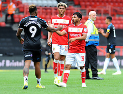 Jay Dasilva of Bristol City shakes hands with Britt Assombalonga of Middlesbrough- Mandatory by-line: Nizaam Jones/JMP- 18/08/2018 - FOOTBALL - Ashton Gate Stadium - Bristol, England - Bristol City v Middlesbrough - Sky Bet Championship